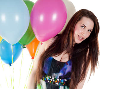 Beautiful woman with multicolored air balloons Stock Photo - 9605068