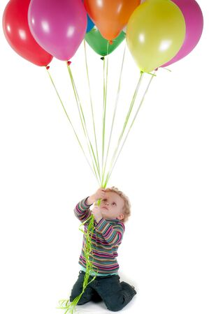 Little cute girl with multicolored air balloons Stock Photo - 9605062