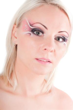 Femme avec art face  Banque d'images