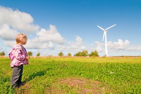 wind turbines: Windmill in nature Stock Photo