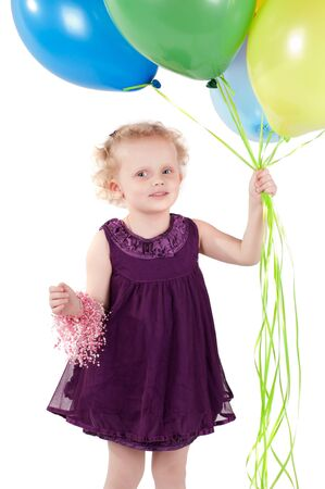 Little cute girl with multicolored air balloons Stock Photo - 9943242