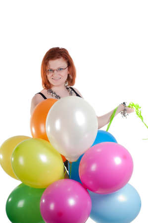 Beautiful woman with multicolored air balloons Stock Photo - 9943234