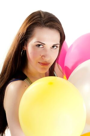 Beautiful woman with multicolored air balloons Stock Photo - 9943244