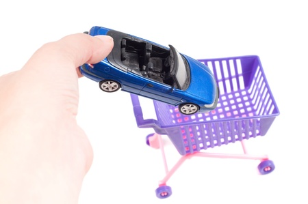 Conceptual photo with car and shopping-cart photo