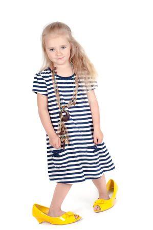 Little cute girl in studio photo