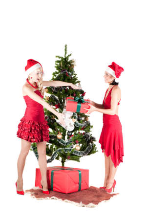 Happy women with Christmas presents Stock Photo - 10698591