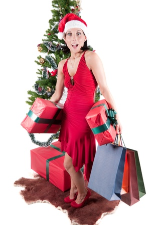 Happy woman with Christmas presents photo