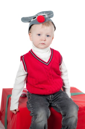 Christmas toddler with presents photo
