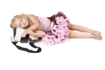 sleeping bag: Little girl sleeping on the bag Stock Photo