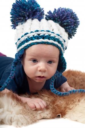 pompon: Little baby in pom-pon hat