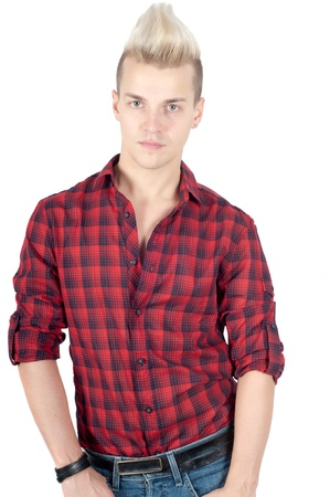 Portrait of handsome man in red shirt photo
