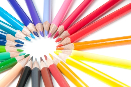 Multicolored pencils, round shape photo