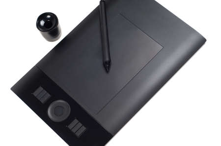 stylus: Black pen tablet with stylus Stock Photo