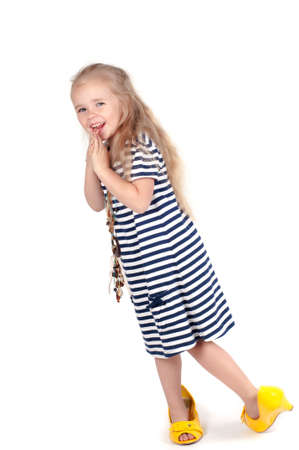 Little cute girl in studio photo