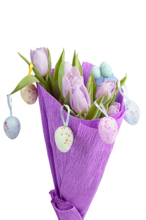 Bouquet from easter aggs and tulips photo