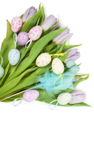 Easter eggs and beautiful tulip bouquet photo