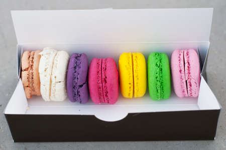 Macarons cookies in box photo