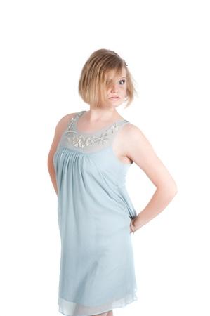 Portrait of beautiful woman in blue dress photo