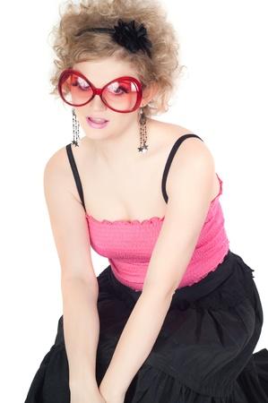 Blonde in big red sunglasses photo