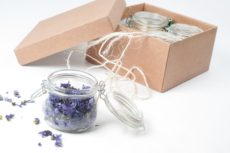 Shot of jar of lavender on white background Stock Photo - 22224606