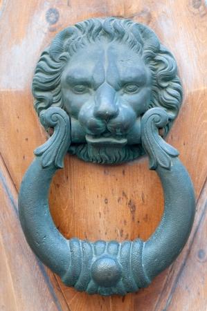 Vintage knocker door of metal lion Stock Photo - 22347503