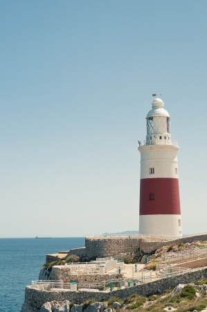 Lighthouse in Gibraltar, blue sky and sea Stock Photo - 22347520