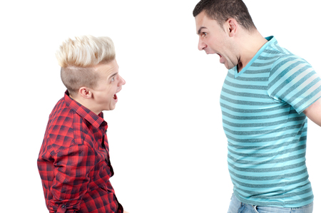 Two man screaming on each other, isolated Stock Photo - 22607790