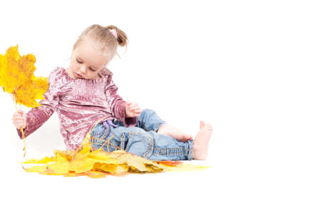 Shot of little girl playing with muple leaves in studio Stock Photo - 22607795