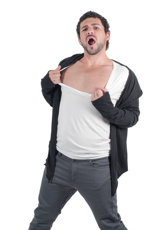 ripping shirt: Man man ripping his shirt and yelling, isolated Stock Photo