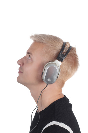 Man in headphones isolated on white, photo in profile photo