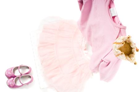 t short: Shot of pink princess clothing isolated on white Stock Photo