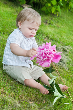 Baby boy with pink peony sitting on the grass photo