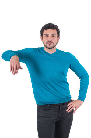 Guy in blue t-shirt leaning on an invisible object photo