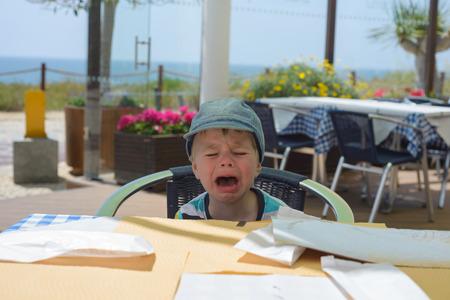 Unhappy crying baby boy