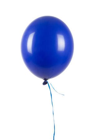 Single blue balloon isolated on white
