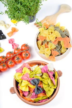 Different ingredients to prepare pasta photo