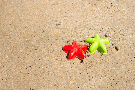 sand mold: Starfish-shaped molds on the sand