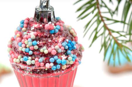 Christmas retro tree toy over defocused background photo