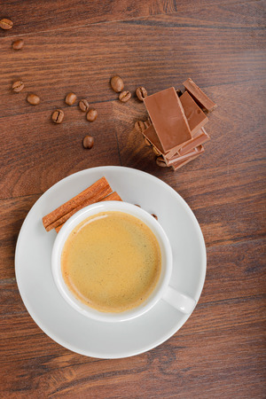View from above to coffee and chocolate Stock Photo