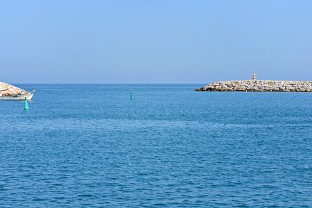 seawall: Seascape with beautiful blue sea, sky and seawall