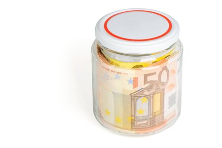 50 euro: 50 Euro banknotes in the jar isolated on white background