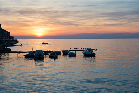 Scenic view of beautiful sunset above the Adriatic sea, Porec, Croatia Stock Photo