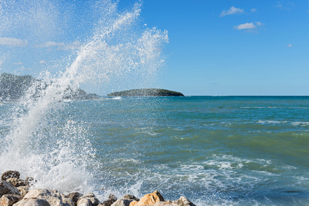 High waves and water splashes in Istria, Croatia Stock Photo