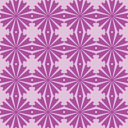 Seamless pattern with purple flowers ornament on pink background