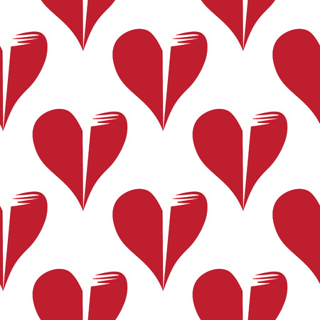 Seamless pattern with broken hearts on white background and swatches