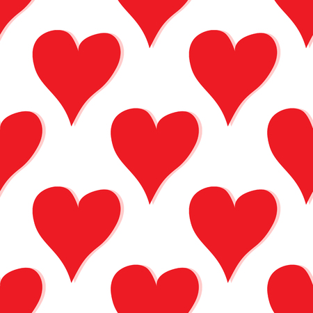 Seamless pattern with red hearts hearts on white background.