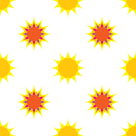 Seamless pattern with sun on white background Illustration