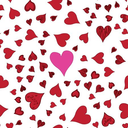 Seamless pattern with different size hand-drawn hearts on white background.
