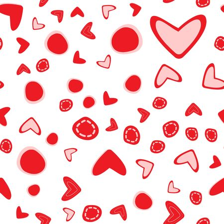 Seamless pattern with different size hearts on white background. Illustration