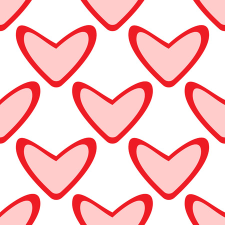 Seamless pattern with big hearts on white background.